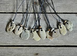 Natural Hag Stone & Crinoid Fossil Necklace - Wishing Stone - Adder Stone - Witch Stone - Holey Stone - Odin Stone