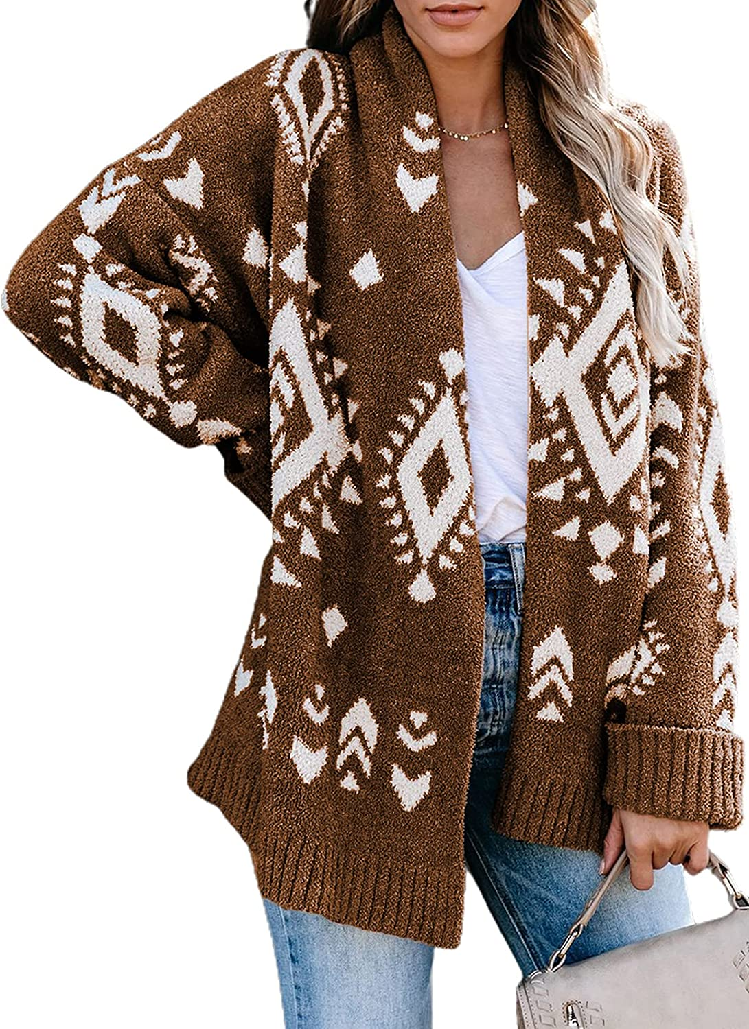 Dokotoo Cardigan Sweaters for Women Long Sleeve Geometric Aztec Print Open Front Boyfriend Comfy Knitted Cardigans Coats
