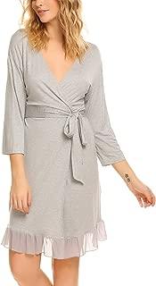 Ekouaer Women Robe Mesh Hem V Neck Kimono Robes Soft Lightweight Bathrobe Knit Sleepwear