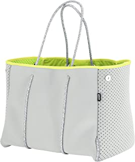 QOGiR Neoprene Multipurpose Beach Bag Tote with Inner Zipper Pocket and Movable Board (Light Grey, X-Large)