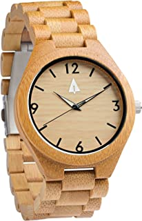 Men's Bamboo Wooden Watch with Zebrawood Wood Strap Quartz Analog wit.