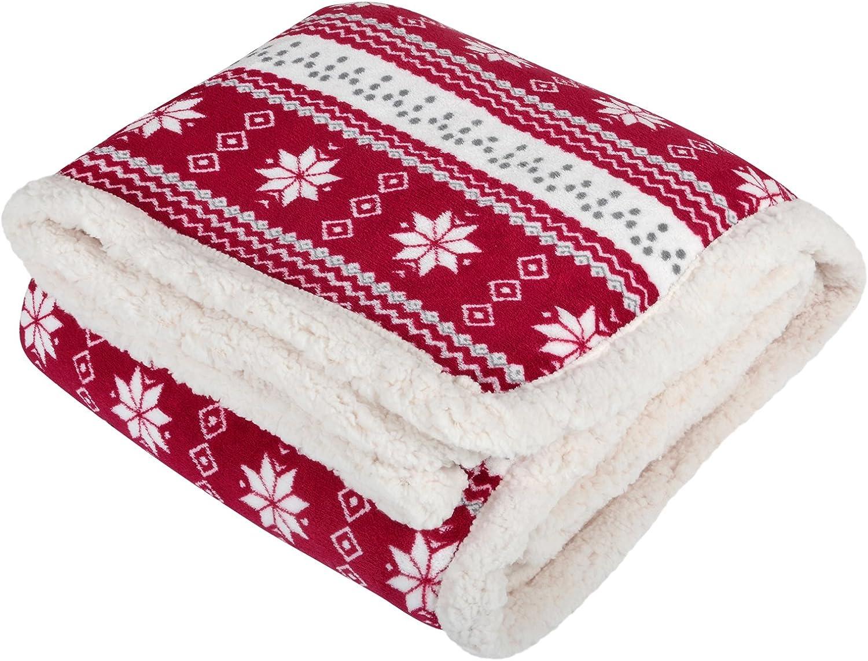 Micro-Pro Navy Snowflake Design Luxury Fleece Blanket Soft Sherpa Sofa Bed Throw 130x160cm