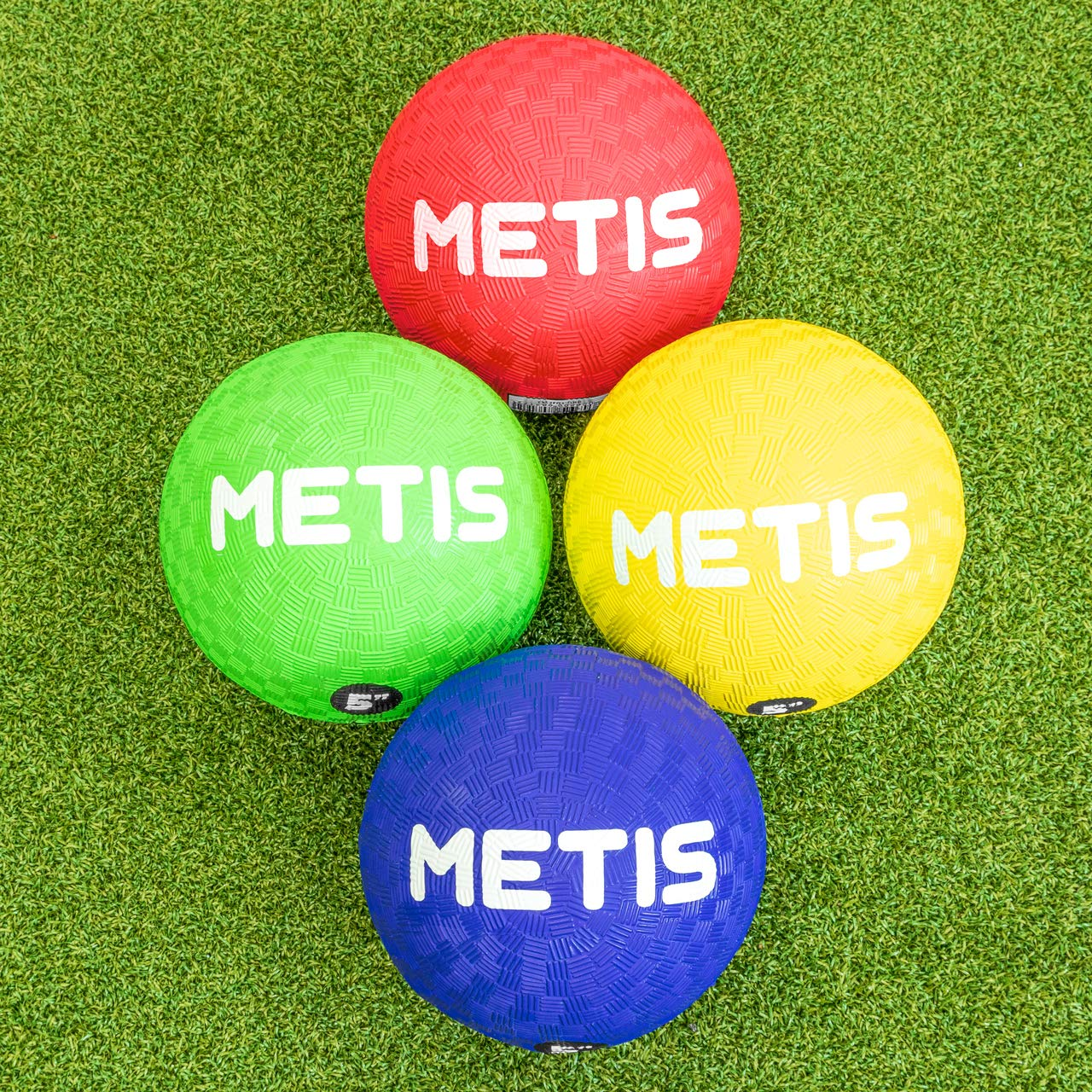 METIS Playground Ball (Packs of 4, 8 or 12) | Soft Anti-Sting Rubber Bouncy Football | Multiple Colour Option Small Outdoor Play Balls - Kids & Toddler Sports Balls (Pack of 8, Large (8.5in))
