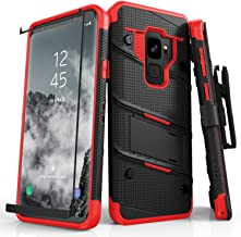 ZIZO Bolt Series Samsung Galaxy S9 Case Military Grade Drop Tested with Tempered Glass Screen Protector Holster Black RED