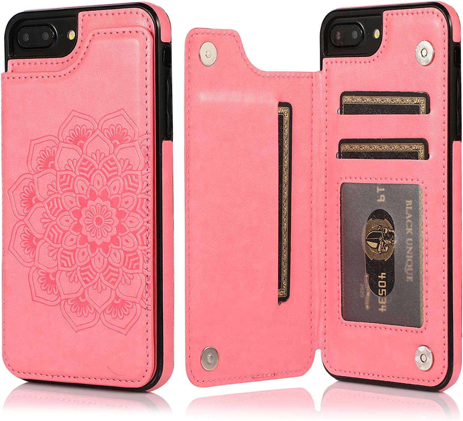 iPhone 7/8 Plus Case,Acxlife iPhone 7/8+ Plus Wallet Case Protective Cover with Cards Slot Holder and Purse Leather Case Compatible with iPhone7/8 Plus (Pink)