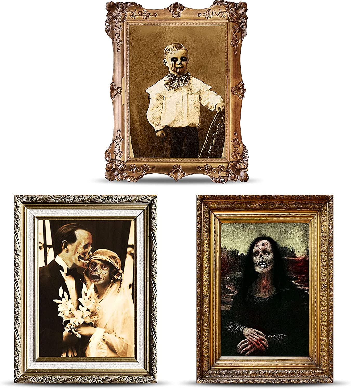 Halloween Decorations 3D Changing Face Horror Pictures Moving Portrait Haunted Pictures Gothic Mansion Portraits Tabletop Picture Frame Scary Wall Decoration for Halloween Party House (Classic,3 PCS)
