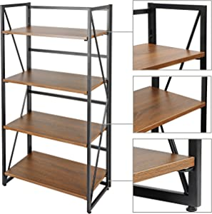 ZenStyle 4 Tiers No-Assembly Bookshelf Folding Book Case Home Office Storage Ladder Shelf Industrial Standing Bookcase Organizer Book-Shelf Rack