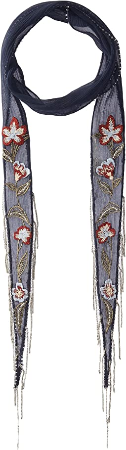 Multi Floral Embroidered Long Skinny Scarf