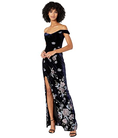 Marchesa Notte Off-the-Shoulder Velvet Embroidered Gown (Navy) Women