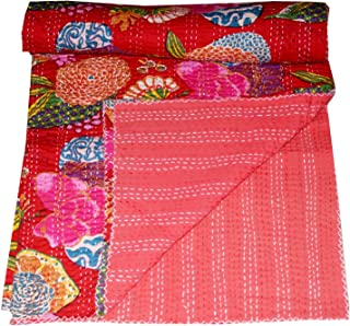 Indian Queen Quilt Rojo Fruta Impresión Decor Kantha Colcha Funda De Edredón, ropa de cama, funda nórdica de, colcha tela vintage Manta, de algodón sari indio dormitorio hecho a mano por Big Bazar