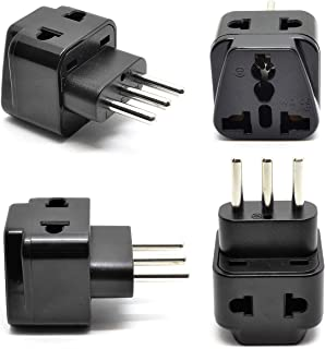 Italy, Chile Power Plug Adapter by OREI, 2 in 1 USA Grounded Connection - Universal Socket - Type L - 4 Pack - Perfect for Cell Phones, Laptops, Chargers & More