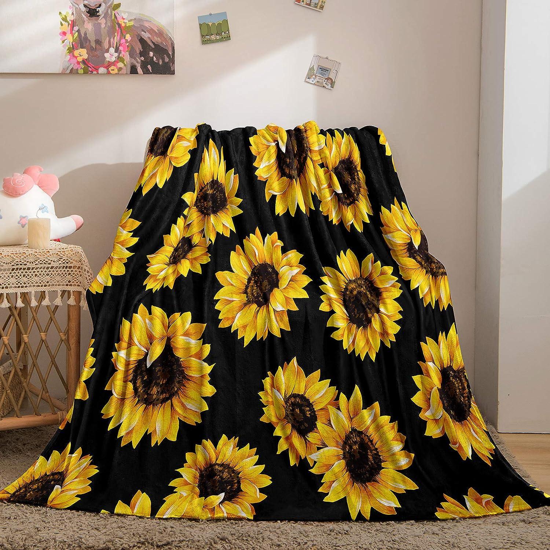 Merryword Black Sunflower Financial sales sale Blanket Flannel Fleece Direct store Y