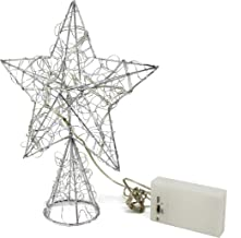 CVHOMEDECO. Silver Wire Twine Tree Top Star with Bright White LED Lights and Timer for Christmas Ornaments and Holiday Sea...