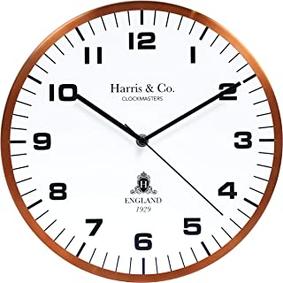 Harris & Co. Clockmasters Metal Luxury Wall Clock with Modern Design, Silent Sweep Noiseless Technology (13 Inch) (Copper)