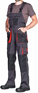 Mens Bib and Brace Overalls, Dungarees Men Black, Big Sizes, Work Trousers for Man, Knee Support with Knee Pads Pockets, K...