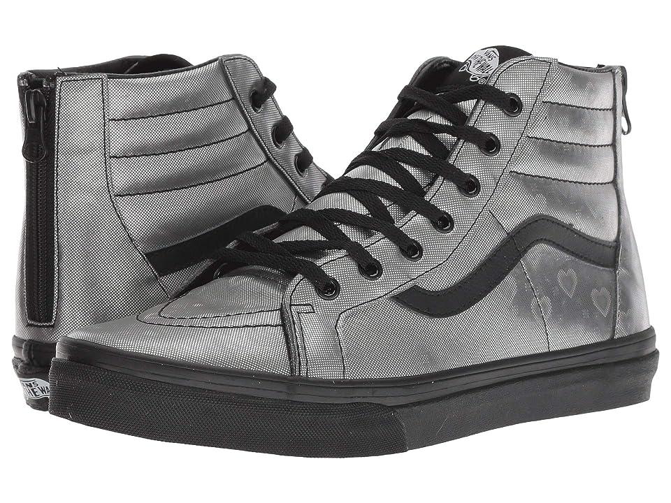 Vans Kids Sk8-Hi Zip (Little Kid/Big Kid) ((Holo Hearts) Black/Black) Girls Shoes