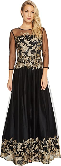 Tahari by ASL Embroidered Mesh Ballgown