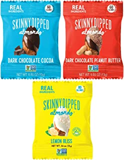 SKINNYDIPPED ALMONDS Snack Attack Minis Original Flavors Almond Variety Pack, 0.46oz Mini Bags, 25 Count