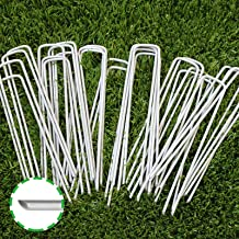 6 Inch Garden Stakes Galvanized Landscape Staples, U-Type Turf Staples for Artificial Grass, Rust Proof Sod Pins Stakes fo...