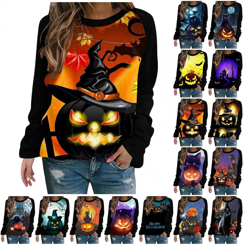 Halloween Women Pullover Sweatshirts,Women's O-Neck Long Sleeve Pumpkin Printing Sweater Graphic Tops