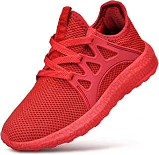 Feetmat Boys Sneakers Lightweight Breathable Kids Tennis Shoes for School Red4.5 M US Big Kid