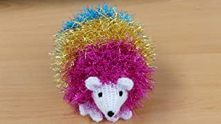 Tinsel - Little Hand Knitted Hedgehog in Sparkly Bright Rainbow Tinsel Wool 14cm Long Pansexual Pride, LGBTQ, Birthday