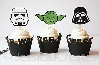 Star Wars Cupcake Toppers - Cupcake Toppers - Star Wars Party Decorations - Yoda Cupcake - Storm Trooper - Darth Vader - 12 ct
