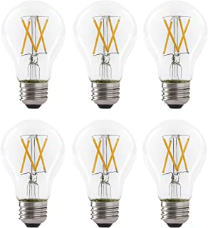 LED 7W A19 Filament Clear Light Bulb, 60W Equivalent, 800 Lumens, 2700K Soft White, Dimmable, E26 Medium Base, Energy Star Certified, 120V (6 Pack)