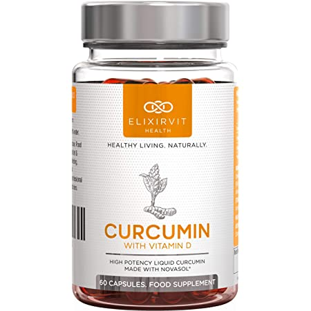 Curcumina Liquida Elixirvit con Vitamina D - 185x Più Biodisponibile della Tipica Curcuma/Curcumina - Subito Assorbibile - 60 Capsule Curcumina NovaSOL