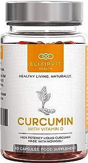 Elixirvit Curcumina líquida con vitamina D, 185 veces más biodisponible que la cúrcuma/curcumina típica–Absorción inmediata–Potente curcumina NovaSOL, 60 cápsulas