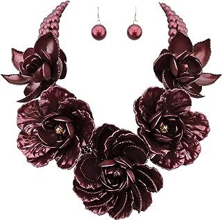 Statement Big Pendant Pearl Flower Necklace Earrings Jewelry Set for Women