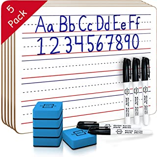5 Pack Dry Erase Ruled Lap Boards l 9 X12 inch Lined Whiteboards (Double Sided Mini White Boards) Markers & Erasers Included