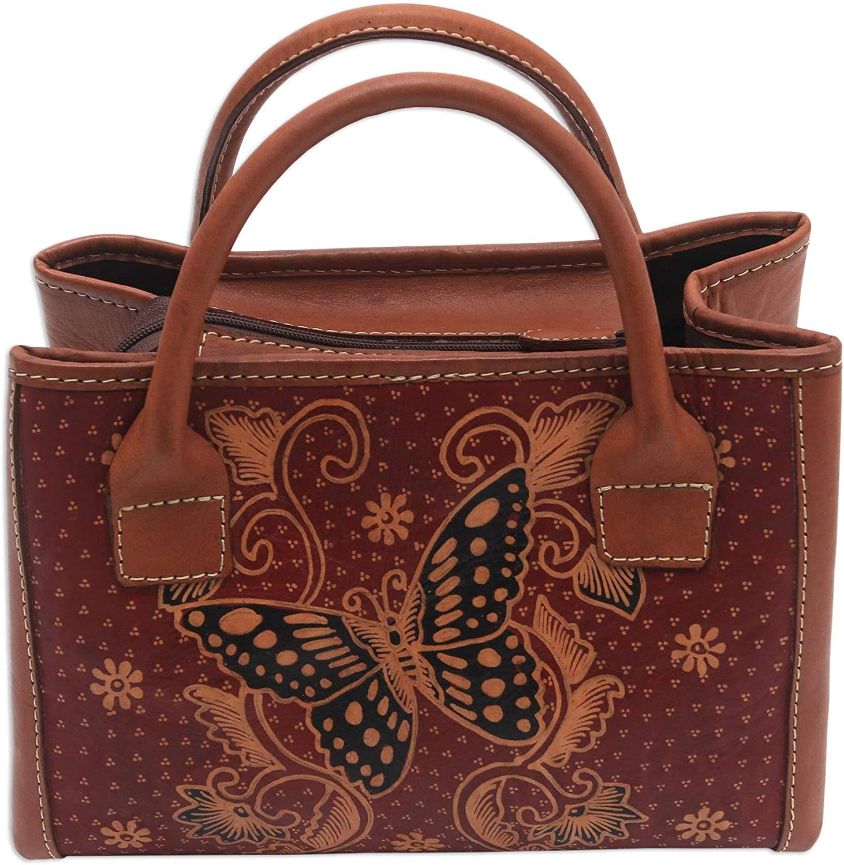 NOVICA Brown Batik Leather Shoulder Bag, Queen of Monarchs'