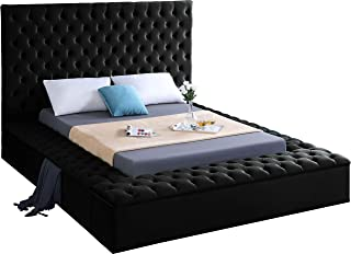 Meridian Furniture Bliss Collection Modern | Contemporary Black Velvet Upholstered Bed with Deep Tufting, with Storage Rails and Footboard, King,