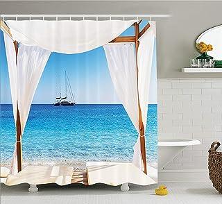 Decoración balinesa Conjunto de Cortina de Ducha, Playa a través de una Cama balinesa Sol de Verano Cielo despejado Luna de Miel Natural SPA Imagen, Accesorios de baño, Aqua Caramelo