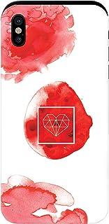 YANcase 手感红色图像兼容苹果 iPhone X 或 iPhone Xs 保险杠框架双层保护钱包手机套带滑动卡槽- 哑光白色
