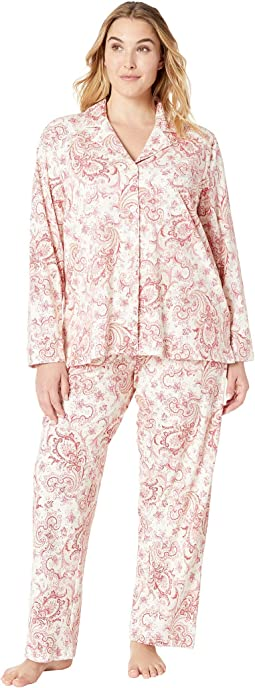 Plus Size Classic Knit Notch Collar Pajama Set