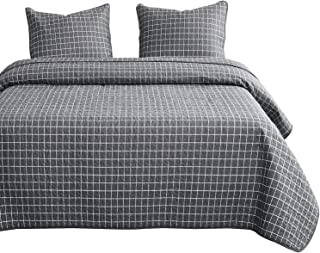Wake In Cloud - Gray Grid Quilt Set, Dark Grey White Grid Geometric Modern Pattern Printed, 100% Cotton Fabric with Soft Microfiber Inner Fill Bedspread Coverlet Bedding (3pcs, Queen Size)