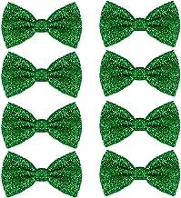 Feelava Pajarita con Lentejuelas, 8 Pack Ajustable Unisexo Pajarita Glitter Corbata de moño Bow Tie Hombre Mujere Niño Pajarita para Fancy Disfraz Fiesta Accesorio - 12 x 7cm (Oro) (Verde)