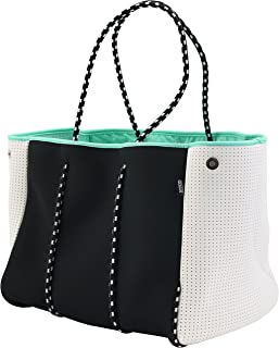 QOGiR Neoprene Multipurpose Beach Bag Tote with Inner Zipper Pocket and Movable Board (Black, Large)
