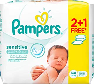 Pampers Sensitive Baby Wipes, 2+1, 168 Count (12-58894EU)