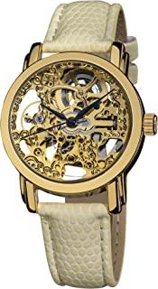 Akribos XXIV Women's Skeleton Automatic Stainless Steel Exhibition Dial Gold Genuine Leather Strap Watch - AK431