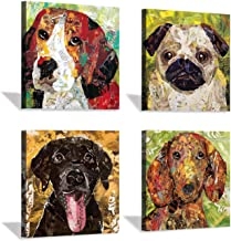 Abstract Pet Dogs Wall Art: Funny Puppy Picture Prints on Canvas for Kids Bedroom (12'' x 12'' x 4 Panels)