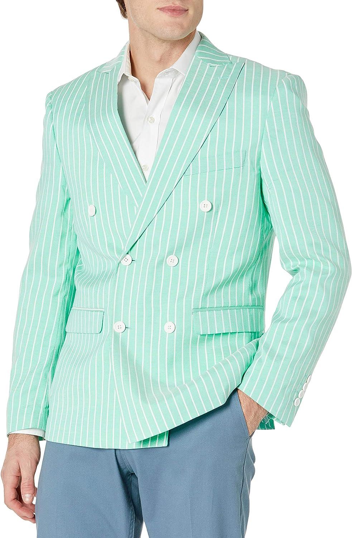 STACY ADAMS Men's Stripe Linen Look Slim Fit Sport Coat