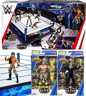 Live Wrestling WWE Superstar Ring Collection Bundled with + Smackdown Jinder Mahal Elite Figures Series Action Ultimate Warrior Champion + Paul Bearer Manager Power Bundle 3-Pack