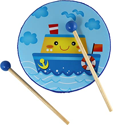 inTemenos My Blue Ship Tambourine Toy - Small Frame Drum for Children with 2 Wooden Mallets - 6 in Wooden Percussion Instrument