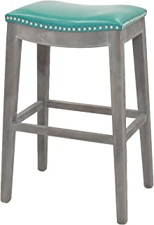 New Pacific Direct Elmo Bonded Leather Bar Stool, Turquoise