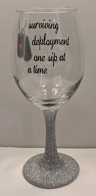Surviving Deployment One Sip At A Time Glitter Stem Wine Glass Deployment Survival Glass Wine Glass Military Wife Glass Christmas Gift