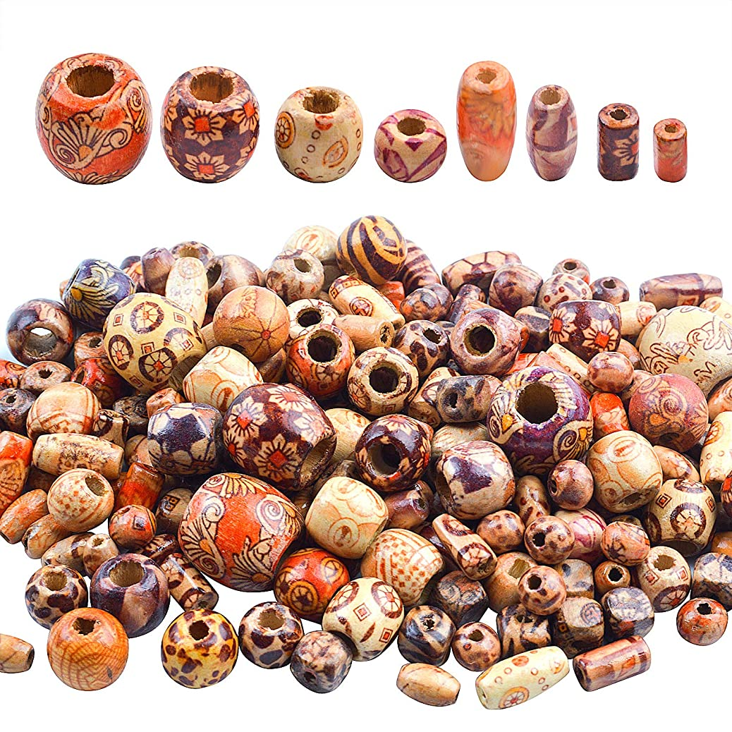 Hendevl 200 Pieces Printed Wooden Beads, Various Shapes Loose Wood Beads for Jewelry Making DIY Bracelet Necklace Hair Crafts cfpwafcgzy