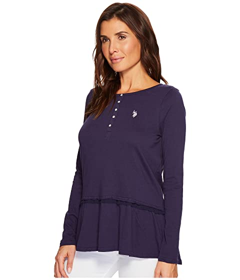 POLO Henley ASSN Shirt Peplum Solid S U 5XvyxqEwRx